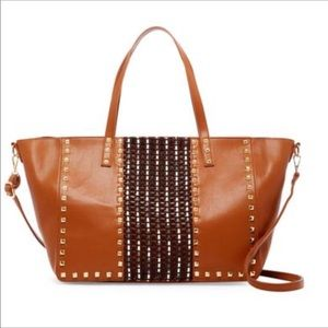 Oversized Studded Tote Cognac Color